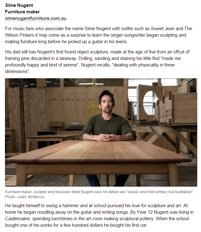 Interview image of Sime Nugent in the workshop